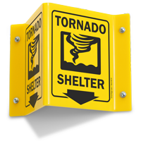 Tornado Shelter Down Arrow Projecting Sign