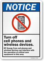 Turn Off Cell Phone and Wireless Devices Sign