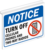 Notice Turn Off Cellular Phones Radios Sign