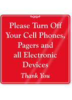 Turn Off Your Cell Phones Showcase Sign