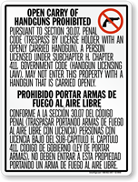 Vertical Bilingual No Open Carry Sign for Texas