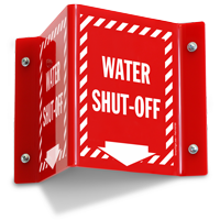 Water Shut Off Projecting Sign