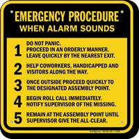 Emergency Procedure When Alarm Sounds Sign
