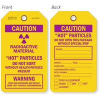 Caution Radioactive Material Hot Particles Tag