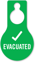 Evacuated With Tick Symbol Door Hang Tag