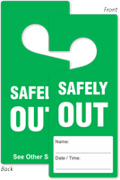 Safety Out Name Date Time Hang Tag