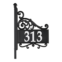 Nite Bright Acanthus Reflective Address Post Sign