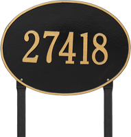 Hawthorne Oval Estate Lawn Address Plaque, One Line