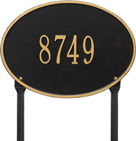 Hawthorne Oval Standard Lawn Address Plaque, One Line
