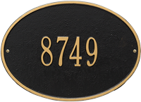 Hawthorne Oval Standard Wall Address Plaque, One Line