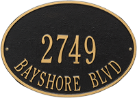 Hawthorne Oval Standard Wall Address Plaque, Two Lines