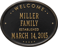 Welcome Oval Family Standard Wall Address Plaque