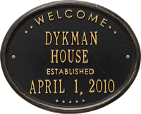 Welcome Oval House Standard Wall Address Plaque
