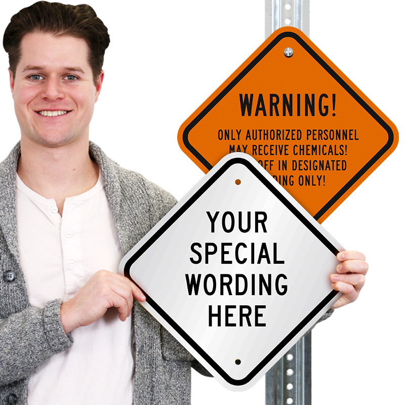 custom diamond shaped sign add warning or safety message sku k