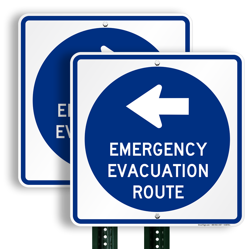 Emergency Evacuation Route Left Arrow Direction Sign Sku K 0079 L