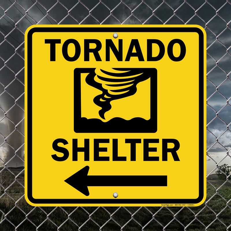 Tornado Shelter Sign With Left Arrow Symbol Sku K 9926 L