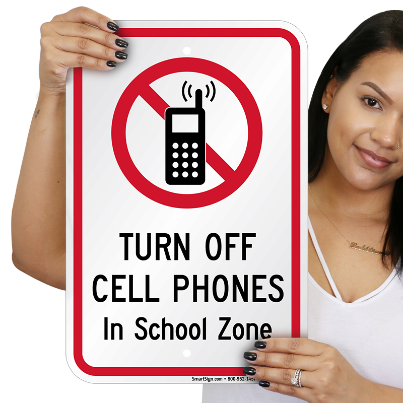 turn off cell phones in school zone sign