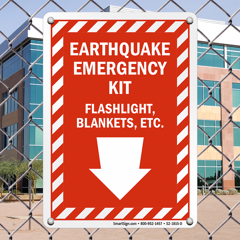 Earthquake Emergency Kit Down Arrow Sign Sku S2 1815 D