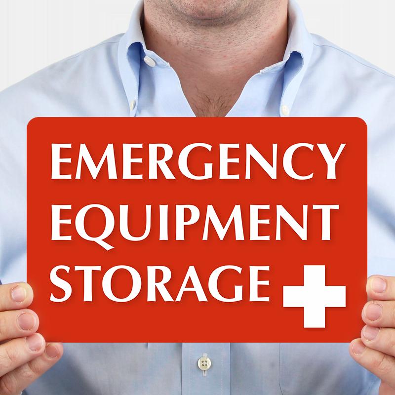 Emergency Equipment Storage Sign With Plus Symbol Sku