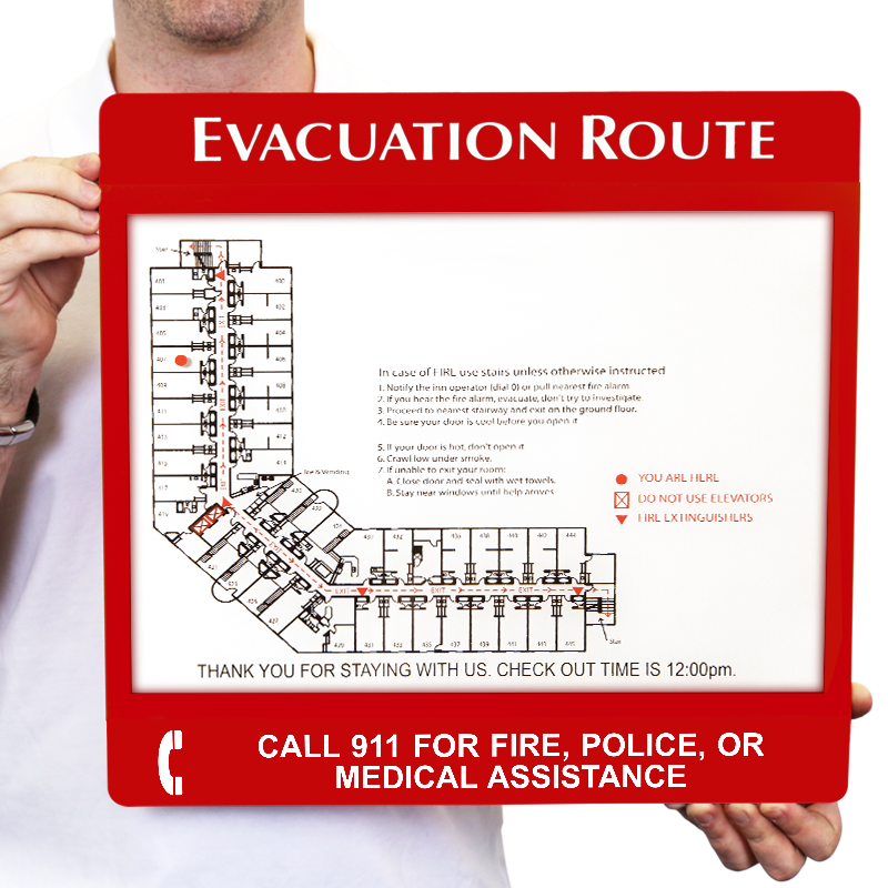 Call 911 For Fire, Police Evacuation Map Holder, SKU - S2-1929