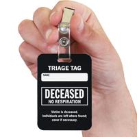 Deceased No Respiration Triage Tags