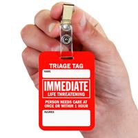 Immediate Life Threatening Triage Tags