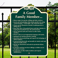 Habits of a Good Family Member Signature Sign