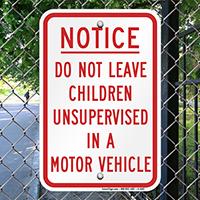 Children Unsupervised No Parking Sig
