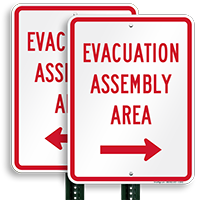 Assembly Area Right Arrow Sign