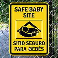 Bilingual Safe Baby Site Signs With Graphic