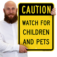 Caution Children And Pets Sign