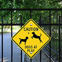 Diamond Caution Dogs At Plays Sign