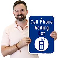 Cell Phone Waiting Lot with Graphic Sign