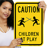 Children At Play Caution with Graphic Sign