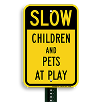 Children And Pets At Play Sign