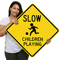 Children Playing Slow Drive Sign