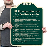 10 Commandments for a Good Family Member Sign