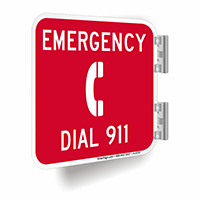 Double Sided Emergency Dial 911 Double Sided Sign