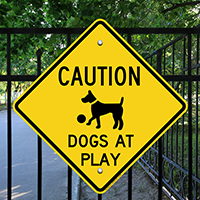 Caution Dogs At Play Sign