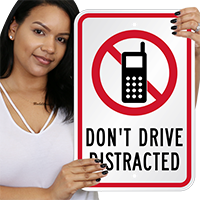 Don't Drive Distracted with Graphic Sign