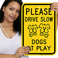 Please Drive Slow Dogs At Play Sign
