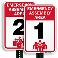 Emergency Assembly Area 1 Signs, Evacuation Sign