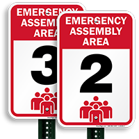 Emergency Assembly Area 2 Signs,Evacuation Sign