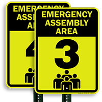 Emergency Assembly Point  Area 3 Sign