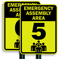Emergency Assembly Point  Area 5 Sign