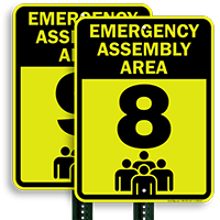 Emergency Assembly Point  Area 8 Sign