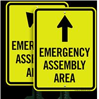 Ahead Arrow Emergency Assembly Area Sign