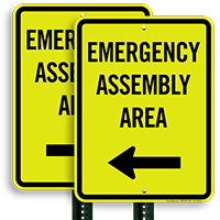 Left Arrow Emergency Assembly Area Sign