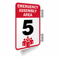 Emergency Assembly Area Number 5 Double Sided Sign