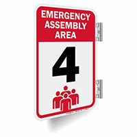 Emergency Assembly Area Number 4 Double Sided Sign